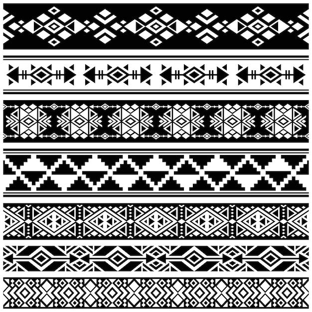 Afrikanischer und mexikanischer aztekischer amerikanischer stammes- vektor Premium Vektoren