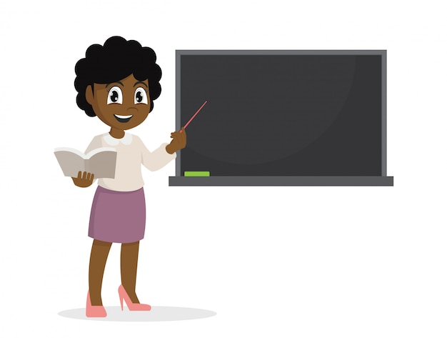Afrikanisches mädchen im lehrer unterrichtend eine lektion auf der tafel. Premium Vektoren