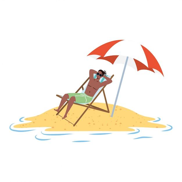 Afro-mann, der am strand sitzt, der im stuhl und im regenschirm sitzt Premium Vektoren
