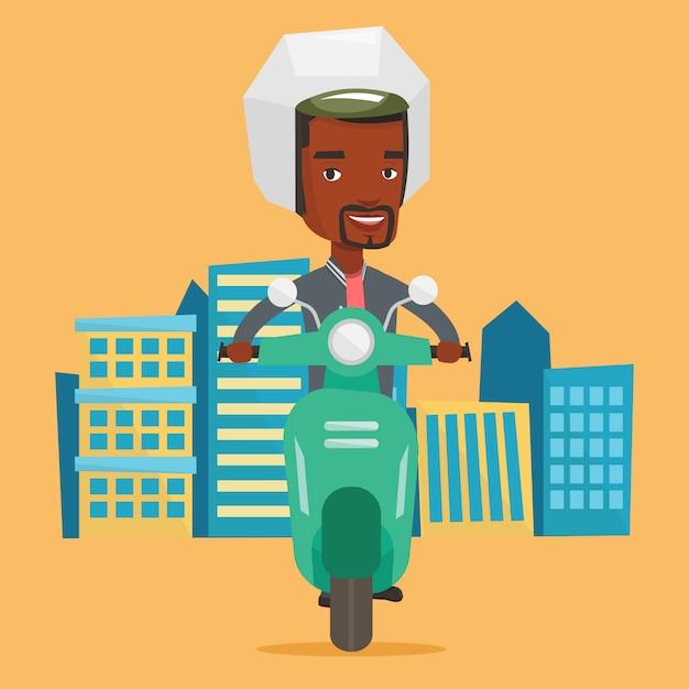 Afroamerikaner, der roller in der stadt reitet. Premium Vektoren