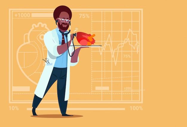 Afroamerikaner-doktor cardiologist examining heart mit medizinischen kliniken worker hospital des stethoskops Premium Vektoren