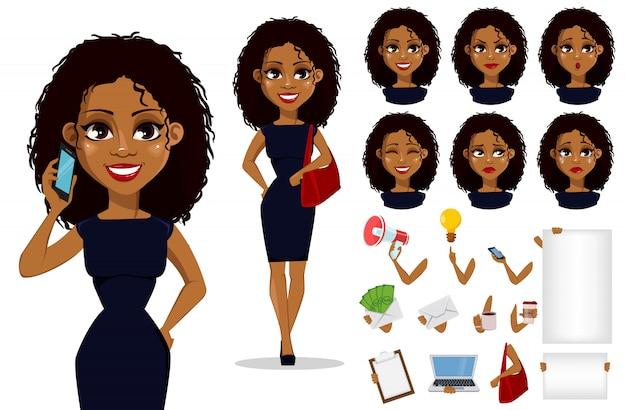 Afroamerikaner-geschäftsfrau-zeichentrickfilm-figur Premium Vektoren