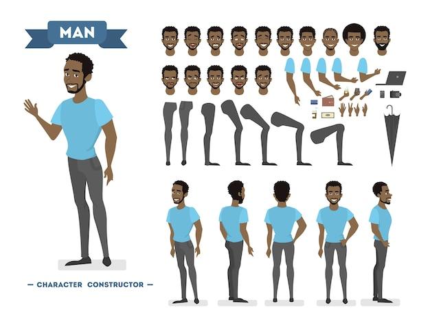 Afroamerikaner mann zeichensatz für animation mit verschiedenen ansichten, frisuren, emotionen, posen und gesten. schulausrüstungsset. isolierte vektorillustration Premium Vektoren