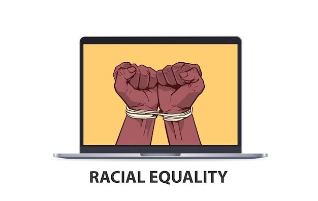 Afroamerikaner schwarze fäuste mit seil auf laptop-bildschirm gebunden stoppen rassismus rassengleichheit schwarze leben materie Premium Vektoren