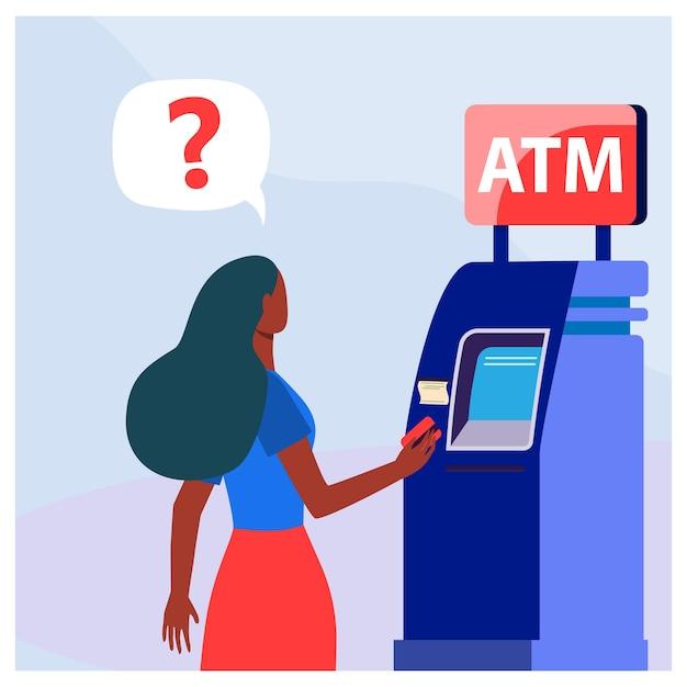 Afroamerikanerin mit geldautomaten. geld, karte, bargeld flache vektorillustration. finanzen und digitale technologie Kostenlosen Vektoren