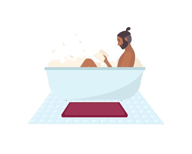 Afroamerikanermann sitzt in der badewanne voll von seifenschaum und lesebuch isoliert. bärtige männliche zeichentrickfigur, die zeit im badezimmer verbringt. bunte vektorillustration. Premium Vektoren