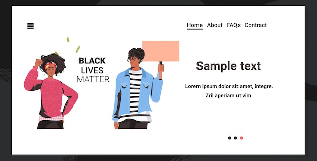 Afroamerikanerpaar, das leere fahne hält schwarze lebensmateriekampagne gegen rassendiskriminierung Premium Vektoren