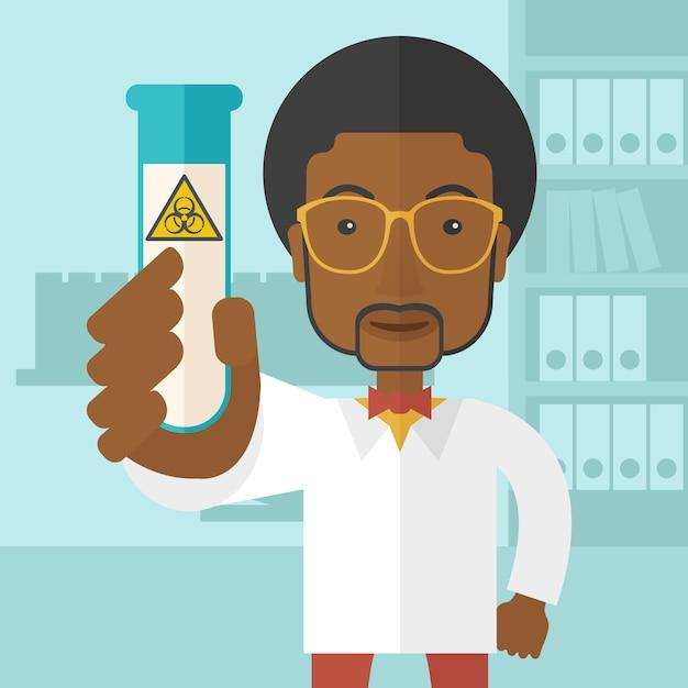 Afroamerikanerwissenschaftler, die mit glasgefäß experimentieren. Premium Vektoren