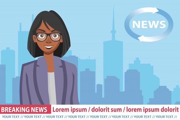 Afroamerikanische ankerfrau im fernsehen Premium Vektoren