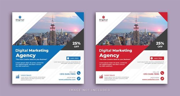 Agentur für digitales marketing und eleganter unternehmensgeschäftsflyer, square social media-instagram-post oder web-banner-vorlage Premium Vektoren