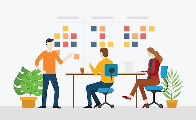 Agiles team, das zusammenarbeitet Premium Vektoren