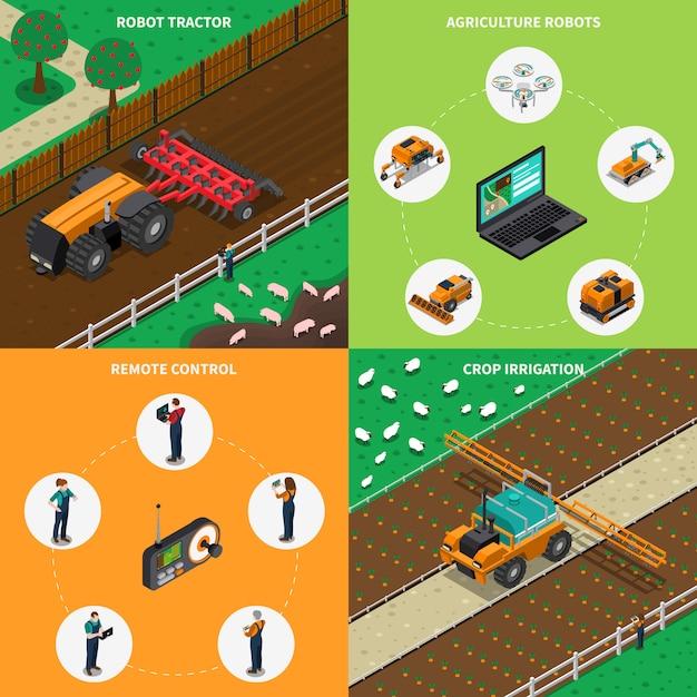 Agrimotor robots design concept Kostenlosen Vektoren