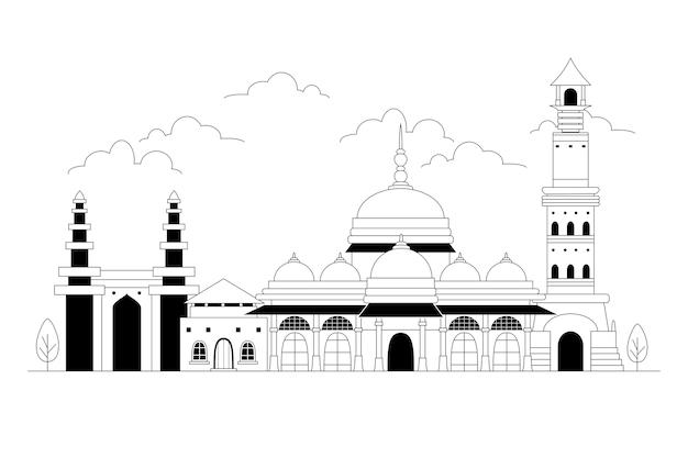 Ahmedabad skyline im linearen stil Kostenlosen Vektoren