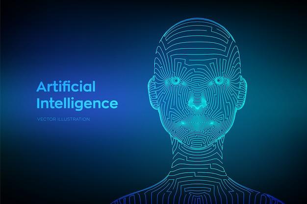 Ai. artefaktielle intelligenz-konzept. abstraktes wireframe digitales menschliches gesicht in der roboterdigitalcomputerinterpretation. Premium Vektoren