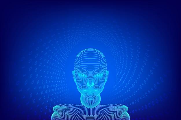 Ai. künstliche intelligenz . ai digitales gehirn. abstraktes digitales menschliches gesicht. menschlicher kopf in der interpretation des digitalen computers des roboters. robotik. wireframe-kopfkonzept. illustration. Premium Vektoren