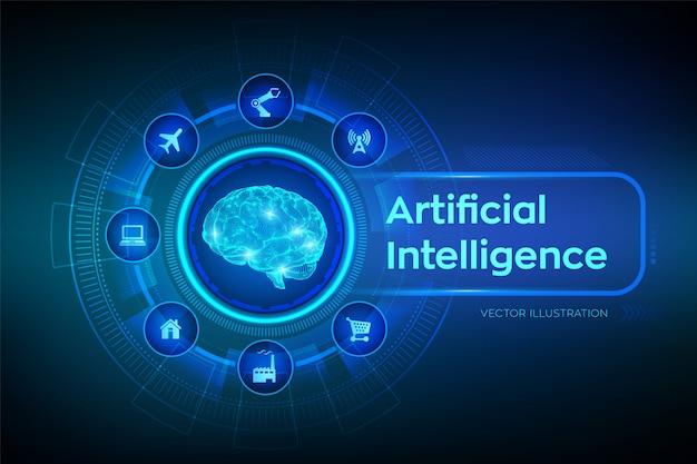 Ai. künstliche intelligenz. digitales gehirn. Premium Vektoren