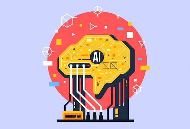 Ai, künstliche intelligenz komposition, gehirn mit elektronischen neuronen. Premium Vektoren