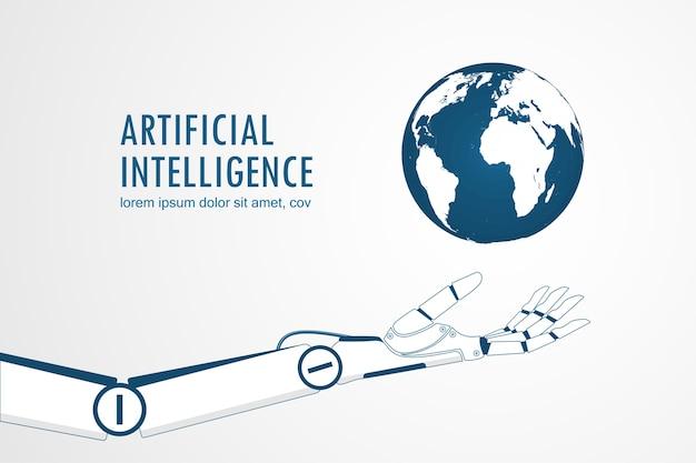 Ai-roboterhand, die die planetenerde hält Premium Vektoren
