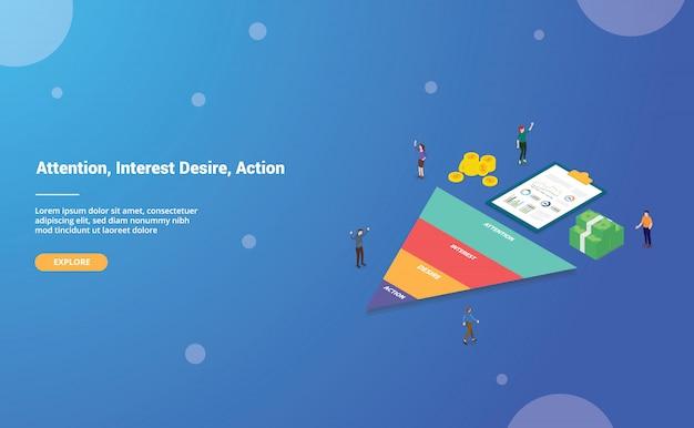 Aida-akronym des aufmerksamkeitsinteressenswunschaktions-geschäftsworts für websiteschablone oder landungshomepage Premium Vektoren