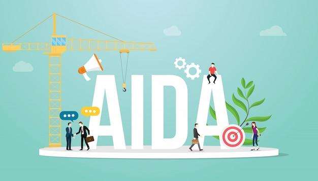 Aida-aufmerksamkeitsinteressenswunschaktionsverkaufstrichter-marketing-geschäftskonzept mit teamleuten Premium Vektoren