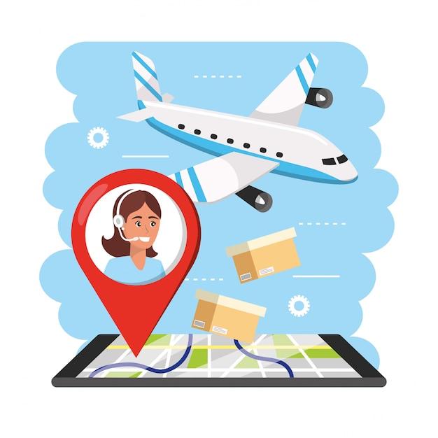 Aiplane transport mit frau call center agent informationen und smartphone gps Premium Vektoren