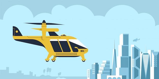 Air taxi drohne passagier hintergrund Premium Vektoren