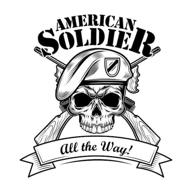 Airborne forces soldat vektor-illustration. schädel in baskenmütze mit gekreuzten gewehren und einem ;; die art und weise text. militär- oder armeekonzept für embleme oder tätowierungsvorlagen Kostenlosen Vektoren