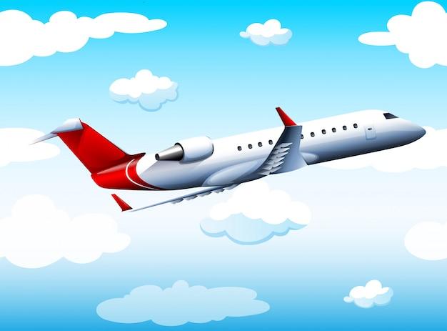 Airplay, das tagsüber in den himmel fliegt Kostenlosen Vektoren