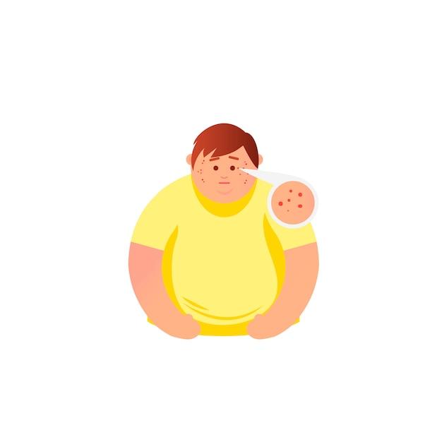 Akne-typen und mann mit akne im gesicht er fühlt stress Premium Vektoren