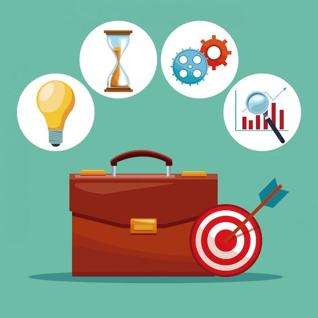 Aktenkoffer mit runden symbolen des geschäfts und des geldes Premium Vektoren