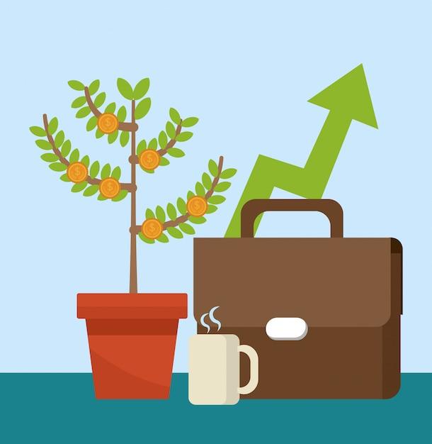 Aktenkoffer und geldpflanze mit kaffeetasse Premium Vektoren