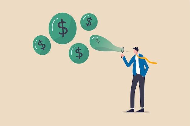 Aktienmarktblase, aktienkurs steigt aus spekulationen von gierigen investoren oder überbewerteten unternehmenskonzepten, gierige geschäftsmanninvestoren blasen blasen mit dollarzeichengeld in die luft. Premium Vektoren