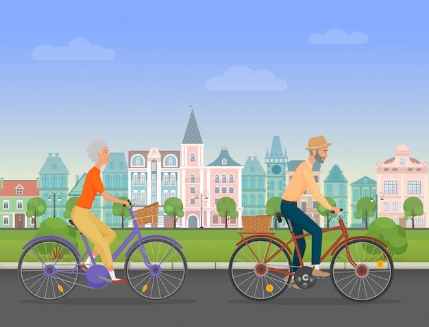 Aktive ältere paarreitfahrräder in der alten stadt Premium Vektoren