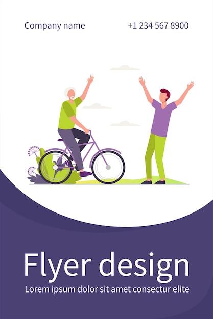 Aktive ältere und junge männer treffen sich im freien. flache illustration des fahrrads, des vaters und des sohnes. flyer vorlage Kostenlosen Vektoren