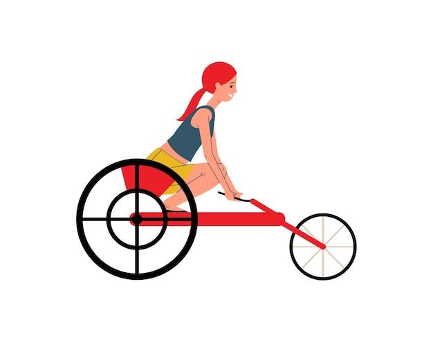 Aktive behinderte frau - sportlerin oder sportlerin im rollstuhl, illustration auf weißem hintergrund. behinderte weibliche zeichentrickfigur konkurriert. Premium Vektoren