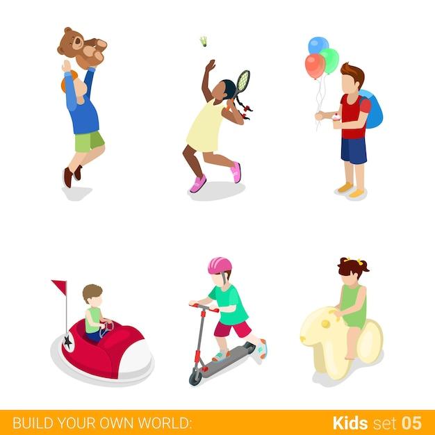 Aktive freizeit vergnügungspark spaß sport teenager kinder Kostenlosen Vektoren