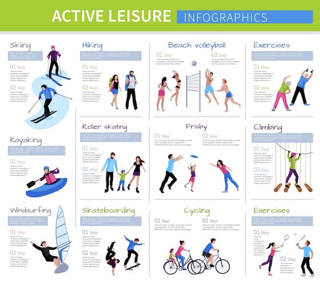 Aktive freizeitmenschen infografiken mit verschiedenen spielen und aktivitäten Kostenlosen Vektoren