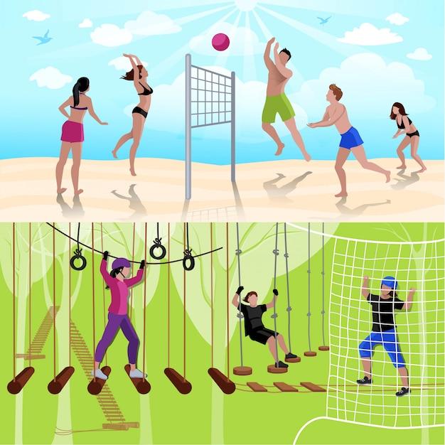 Aktive freizeitmenschkomposition mit volleyball und klettern im flachen stil Kostenlosen Vektoren