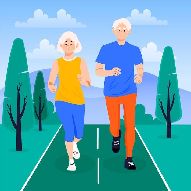 Aktive illustration älterer menschen Premium Vektoren