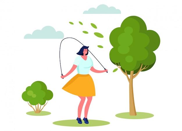 Aktive sportartillustration, karikaturfrauenfigur lächelnd, springend mit springseil auf weiß Premium Vektoren