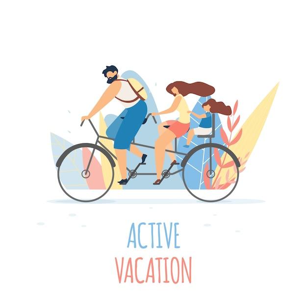 Aktiver familienurlaub auf fahrrad flat banner. Premium Vektoren