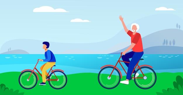 Aktiver großvater und enkel fahren zusammen fahrrad. flache vektorillustration des alten mannes und des jungen, die draußen radeln. lebensstil, aktivität, familienkonzept Kostenlosen Vektoren
