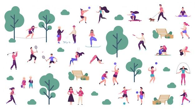 Aktiver lebensstil im freien. menschen gesunder lebensstil und park-sportaktivitäten, spiele im freien, joggen und laufillustrationsikonen eingestellt. outdoor-jungen trainieren, skateboard fahren und spielen Premium Vektoren