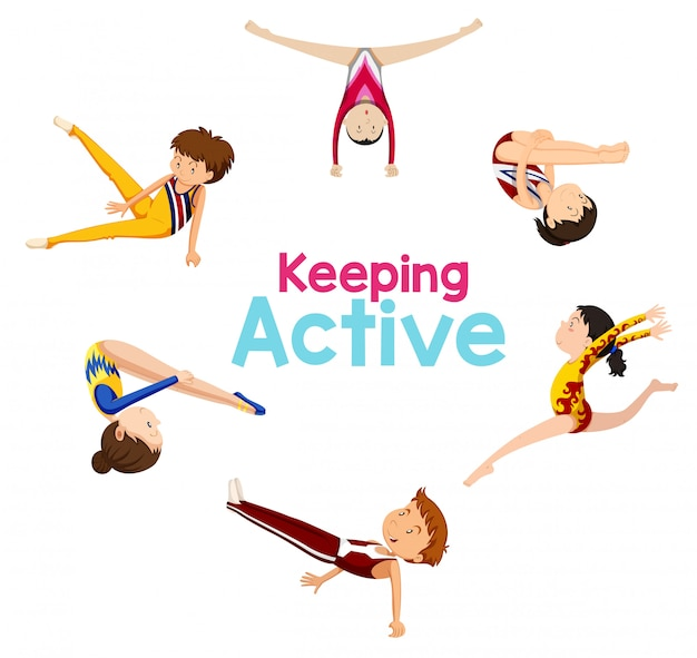 Aktives logo mit gymnastiksportler halten Kostenlosen Vektoren