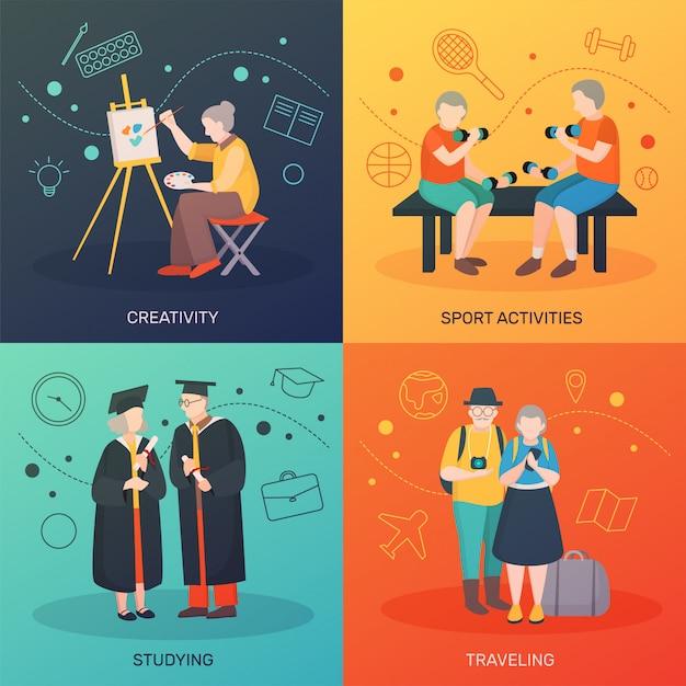 Aktivitäts-konzept der älteren menschen Kostenlosen Vektoren