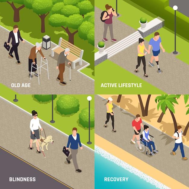 Aktivitätsrehabilitation 4 der behinderten verletzten personen im freien isometrisches ikonenkonzept mit blindem altem und amputiertem Kostenlosen Vektoren