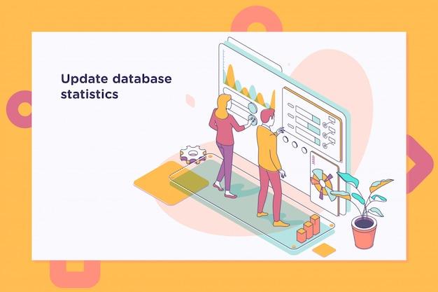 Aktualisieren sie die datenbankstatistiken. workflow und geschäftsführung Premium Vektoren