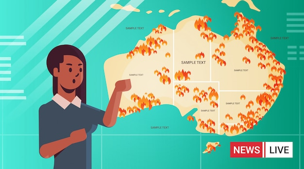 Aktuelle nachrichten afroamerikaner reporter live-brodcasting karte von australien mit symbolen der buschfeuer saisonale waldbrände trocknen die globale erwärmung naturkatastrophe konzept porträt brennen Premium Vektoren