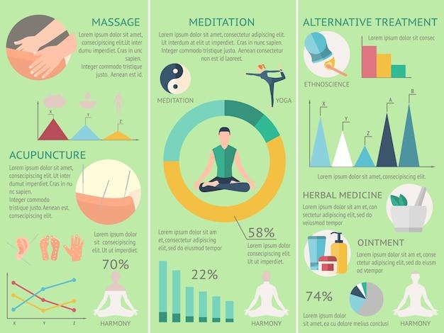 Akupunktur-infografiken-set Kostenlosen Vektoren