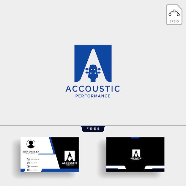 Akustisches gitarrenheim lernen logo-vorlage Premium Vektoren